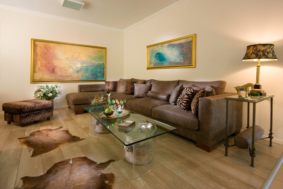 Beauty Elegant Living Room With Brown Furniture And Rug Animal Print Accents (View 2 of 12)