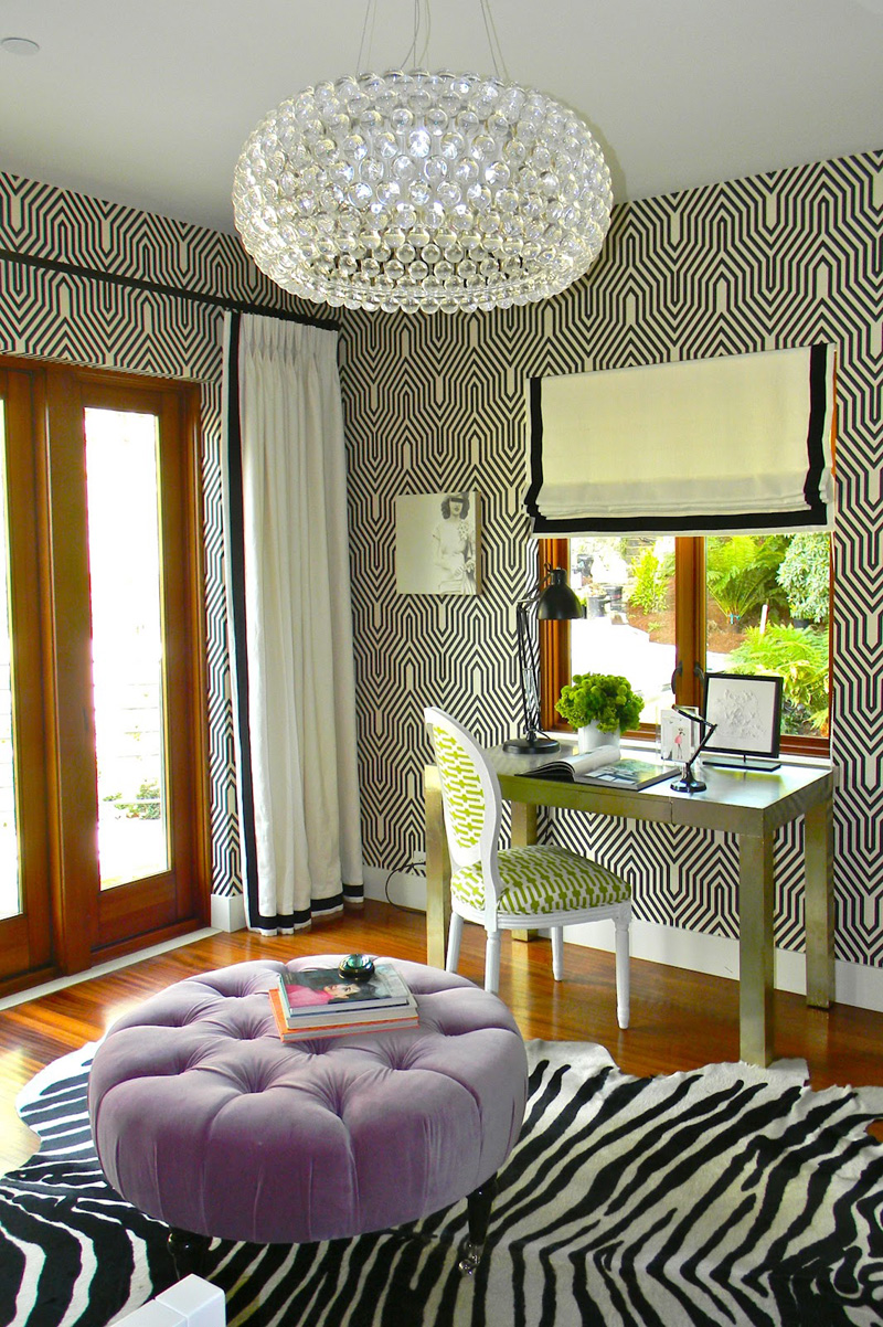 Black White Interior with Rug Animal Print Accents