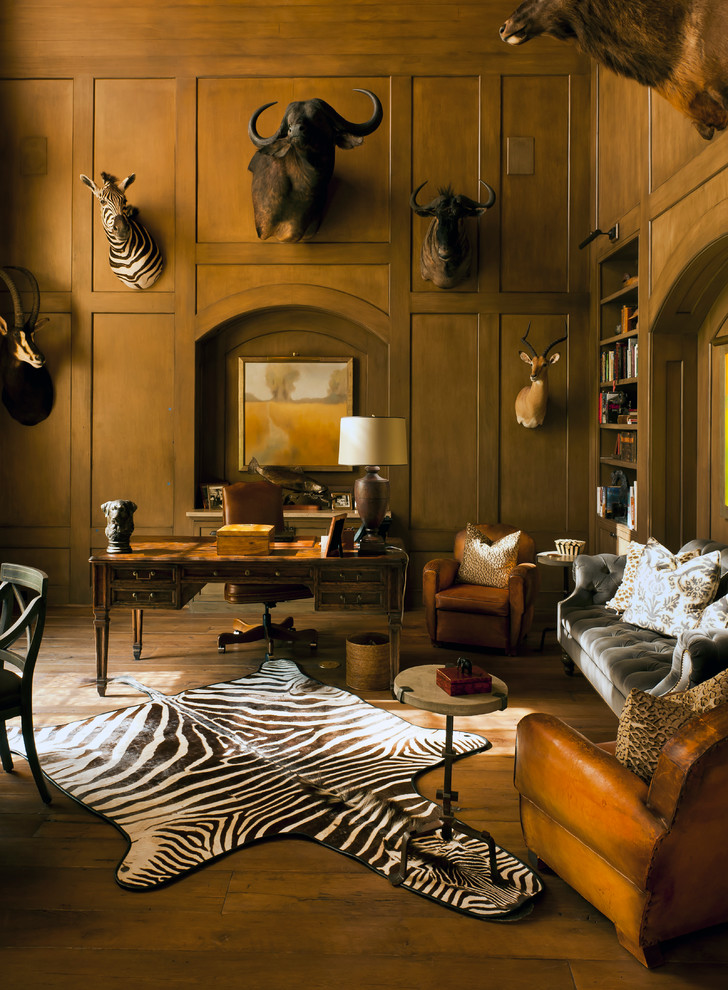 Classic Traditional Home Office with Rug Animal Print Accents