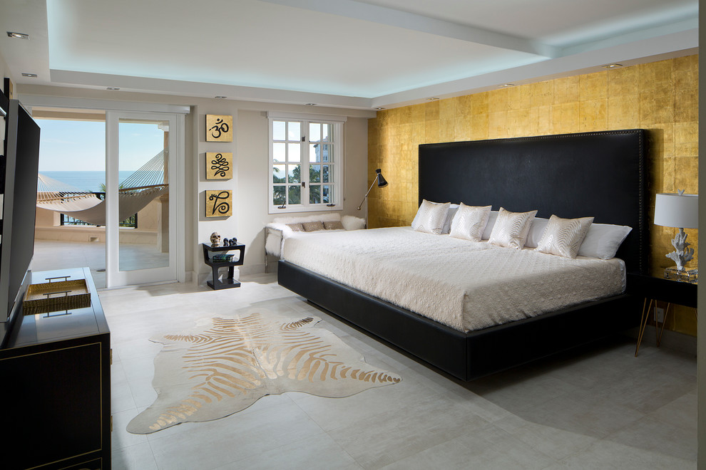 Contemporary Bedroom With Rug Animal Print Accents (Image 5 of 12)
