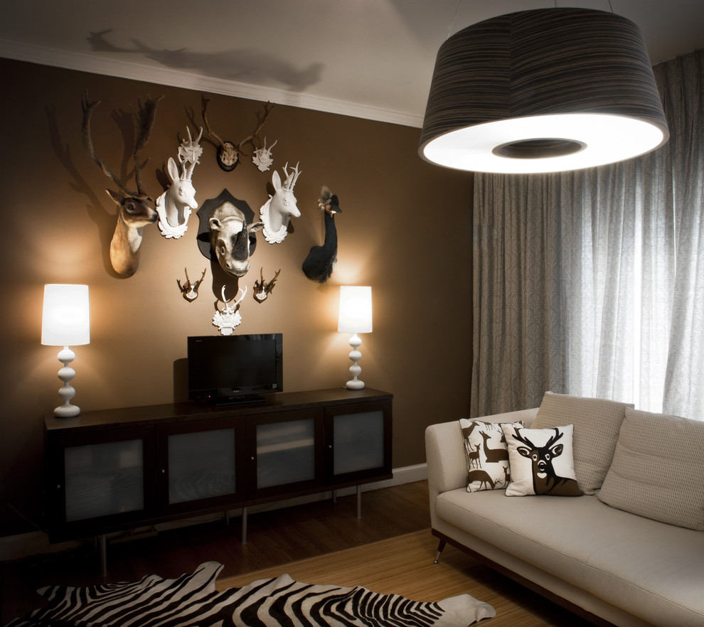 Contemporary Family Room With Rug Animal Print Accents (View 6 of 12)
