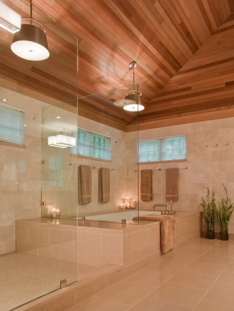 Luxury Bathroom Plan With Wooden Roof  (Image 3 of 9)