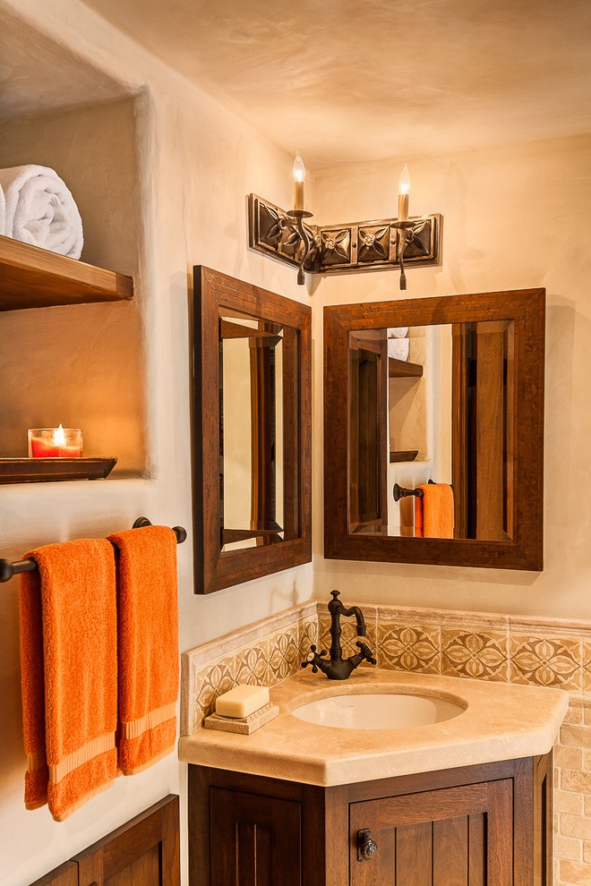 Mediterranean-Style Corner Bathroom Sink