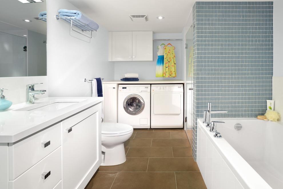 Modern Bathroom and Laundry Interior Design Plan