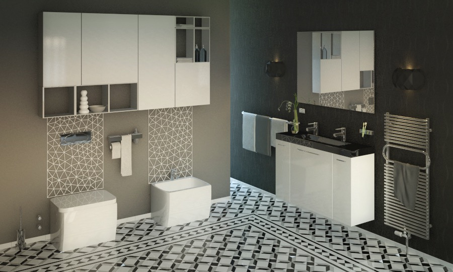Modern Black White Bathroom Ceramic Tile Plan