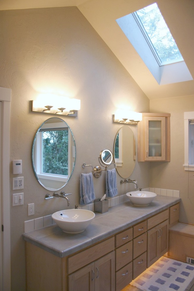Modern Corner Bathroom Sink with Modern Lighting