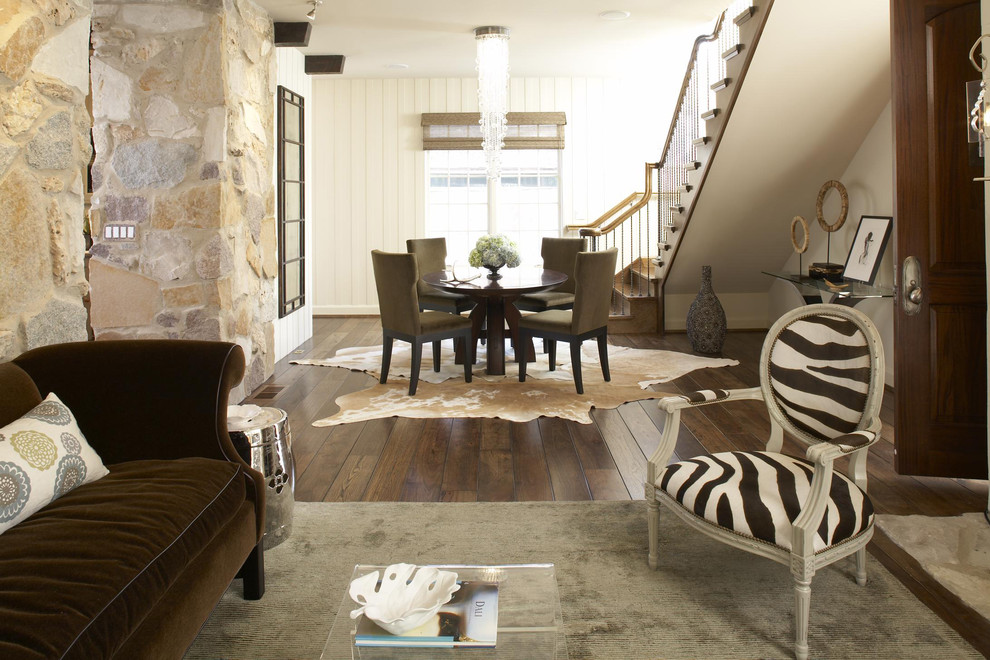 Rustic Dining Room with Rug Animal Print Accents