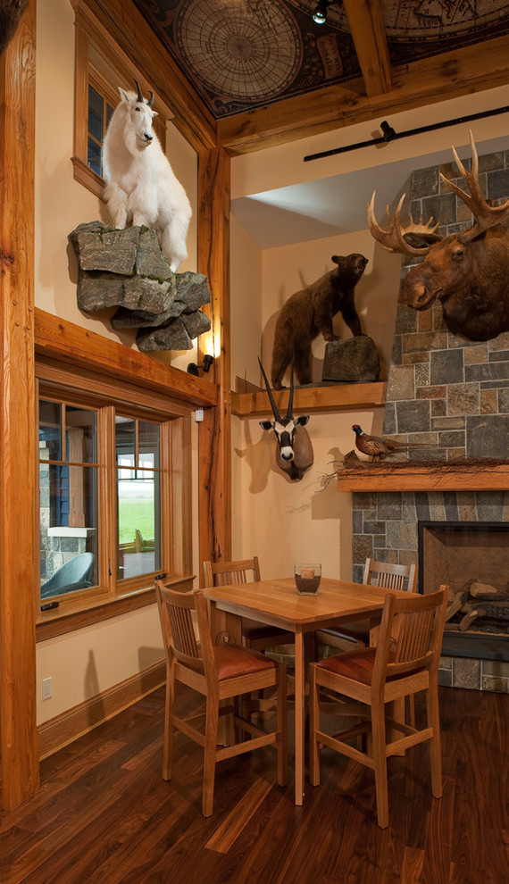Rustic Family Room with Animal Wall Sculpture