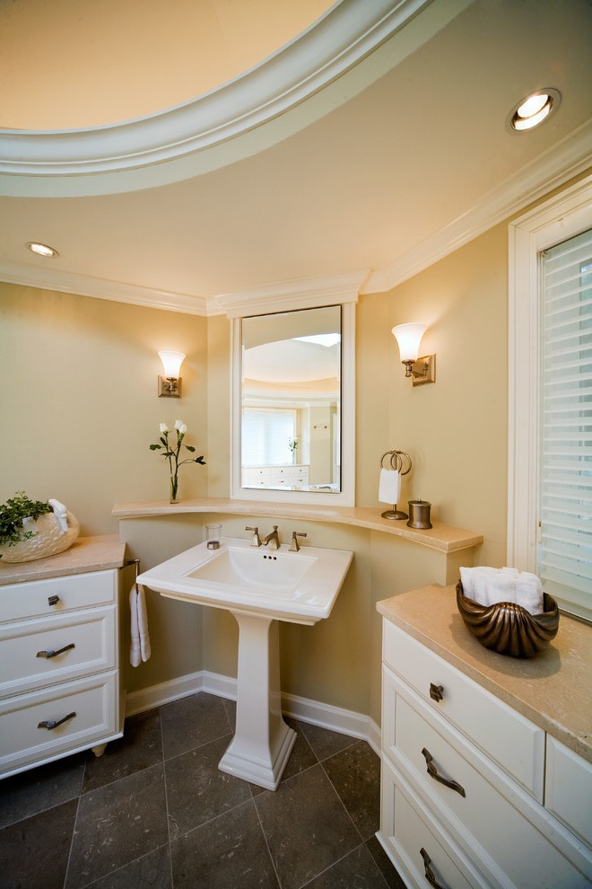 Traditional Corner Marble Bathroom Sink