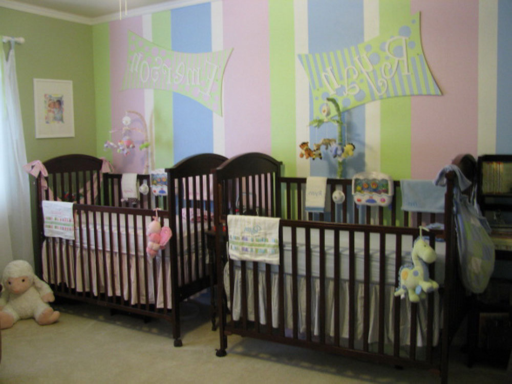 Adorable Color Wall Design For Mesmerizing Twin Baby Nursery With Cute Al Mobiles Over Espresso Wood