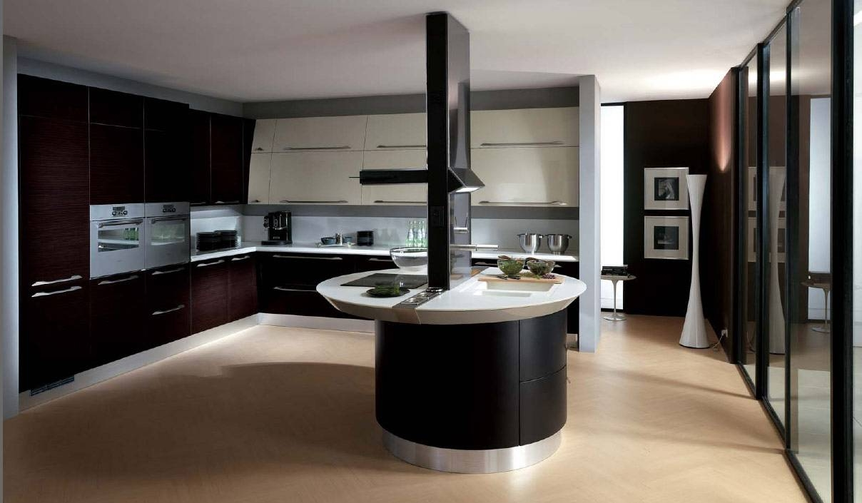 enthralling modern kitchens. Black Framed Glass Doors Mixed With Enthralling Round Counter Table In Modern Kitchen Design (Photo Kitchens R