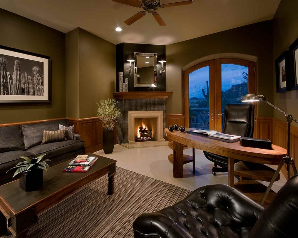Calming Brown Home Office Wall Paint Color Background