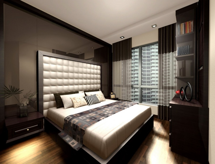 Chic window treatment in deluxe masculine master bedroom design with blurry corner cabinet Master bedroom corner decor