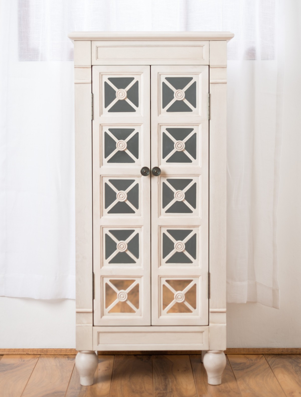 Classic White Jewelry Armoire On Laminate Floor Combined With Calming Plain Window Treatment Photo 1054