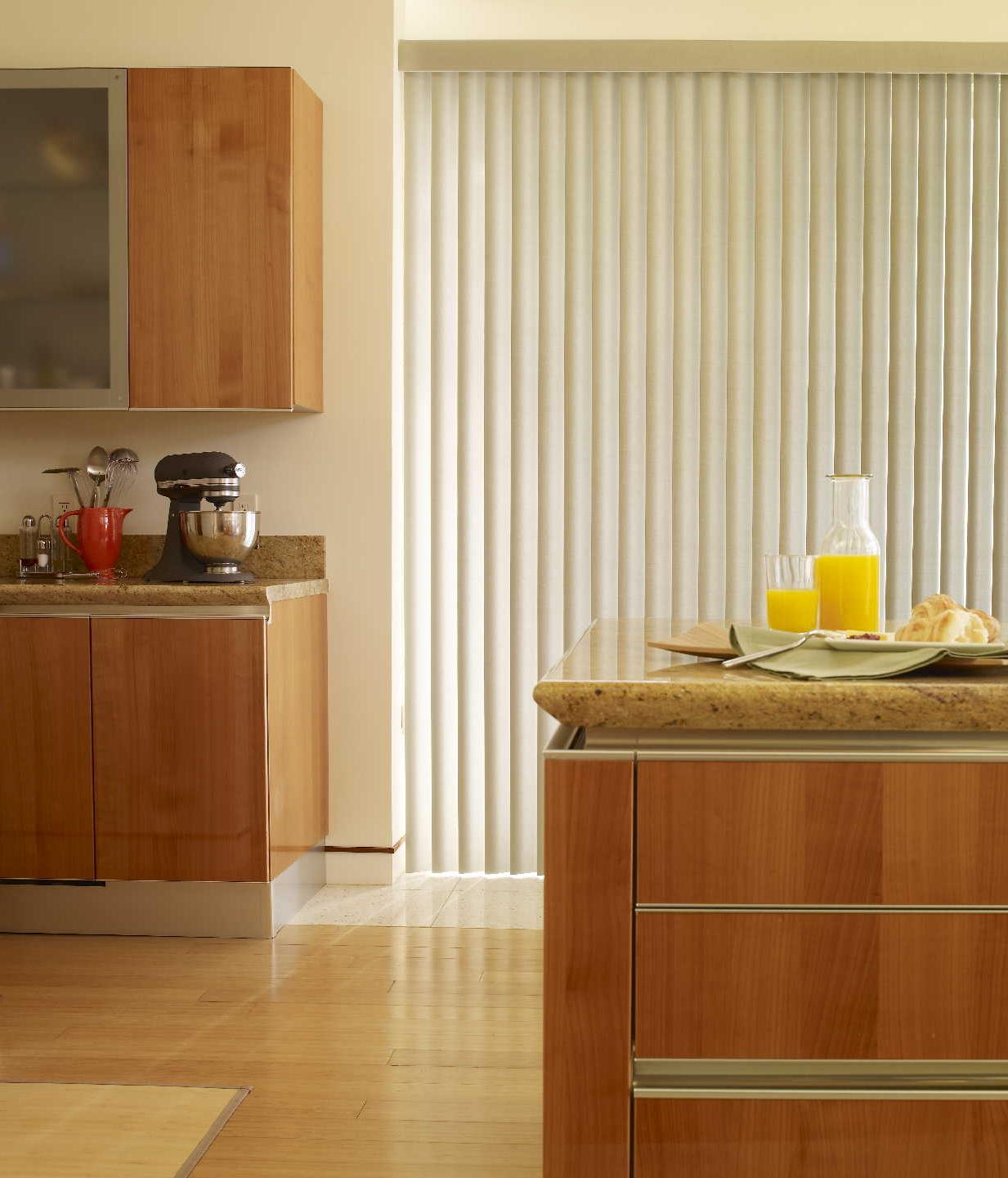 clean laminate floor with wooden kitchen set plus white vinyl window blind design photo