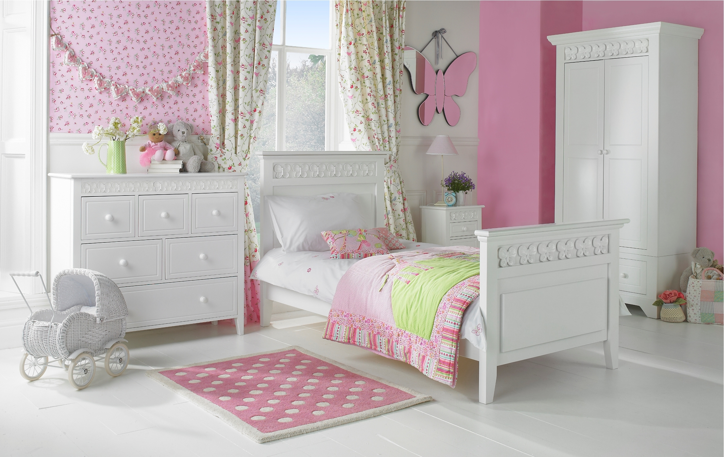 Clean white girls bedroom set with floral window curtains for Kitchen colors with white cabinets with polka dot wall art