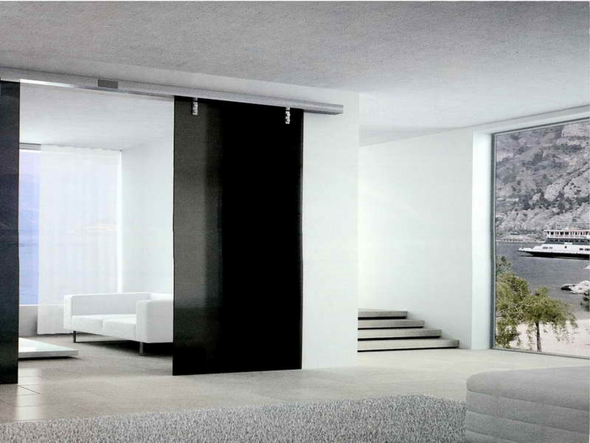 Comely White Room Contrast With Modern Black Glass Sliding Door Room