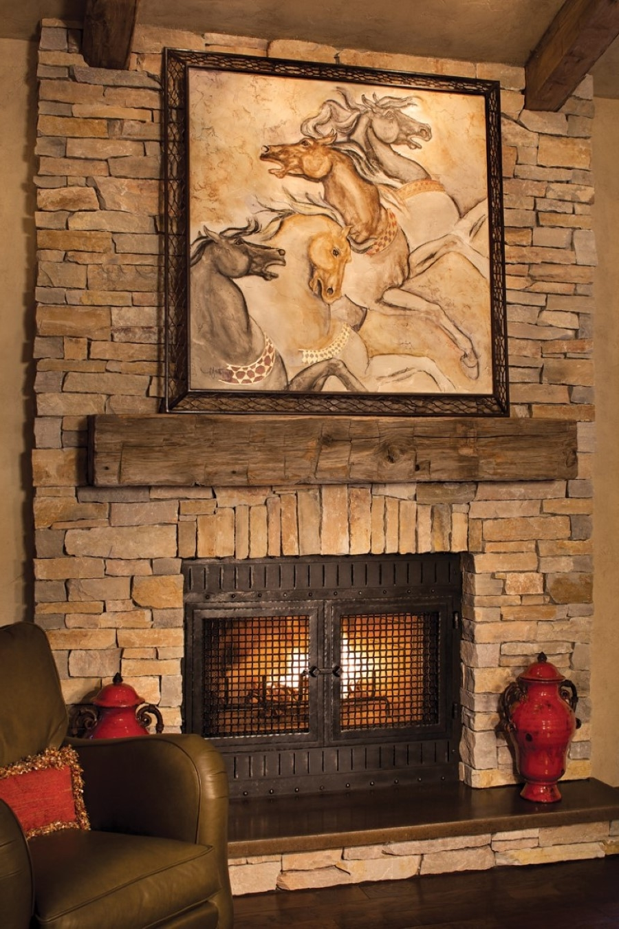 Comfy Brown Leather Armchair With Rustic Stoned Fireplace Mantel Plus Wooden Shelf Also Art Painting Decor & Comfy Brown Leather Armchair With Rustic Stoned Fireplace Mantel ...