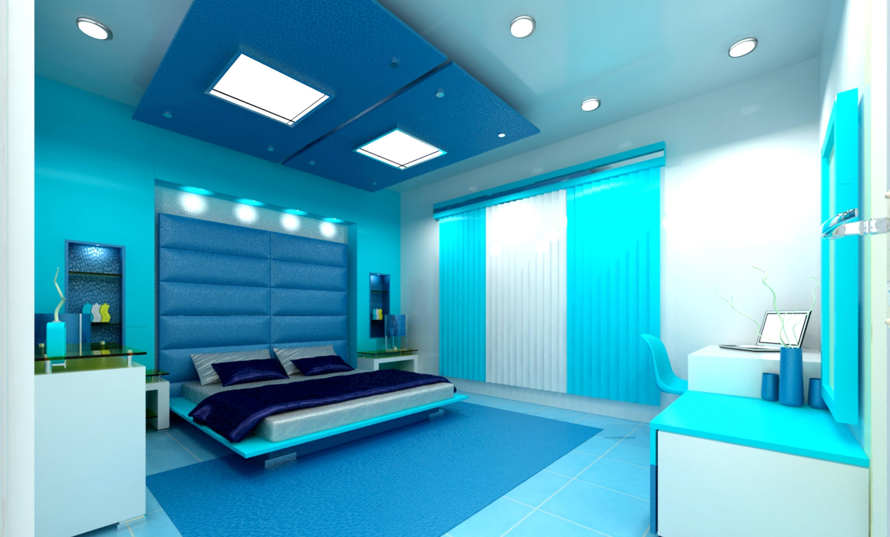 cool bright cyan bedroom theme decorating idea with blue bedding set plus white recessed lighting idea