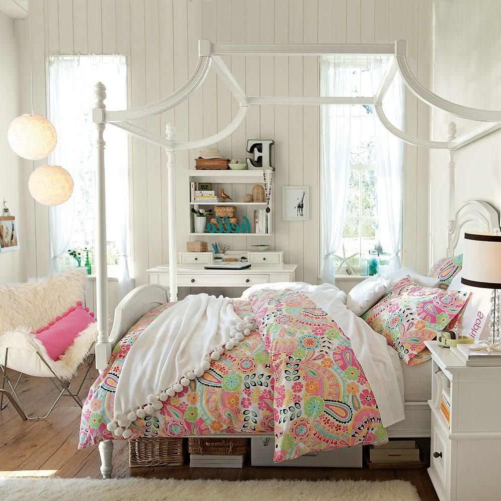 Canopy Bedroom Sets Girls country white bedroom set with decorative canopy bed beside fury