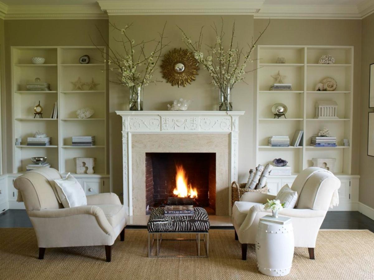 Decorative white wall shelves designed flank fireplace set for B q living room shelves
