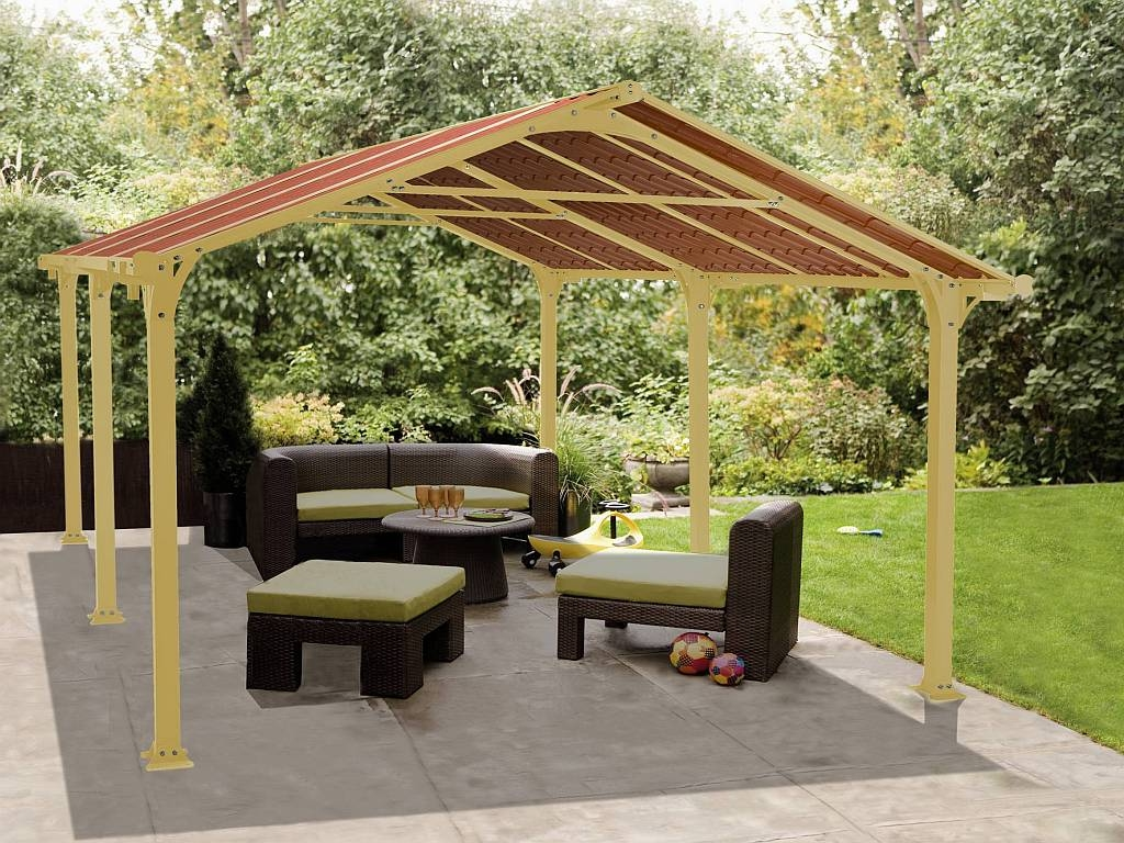 exotic brown outdoor seating area with green pads under maroon gazebo canopy design photo 1575