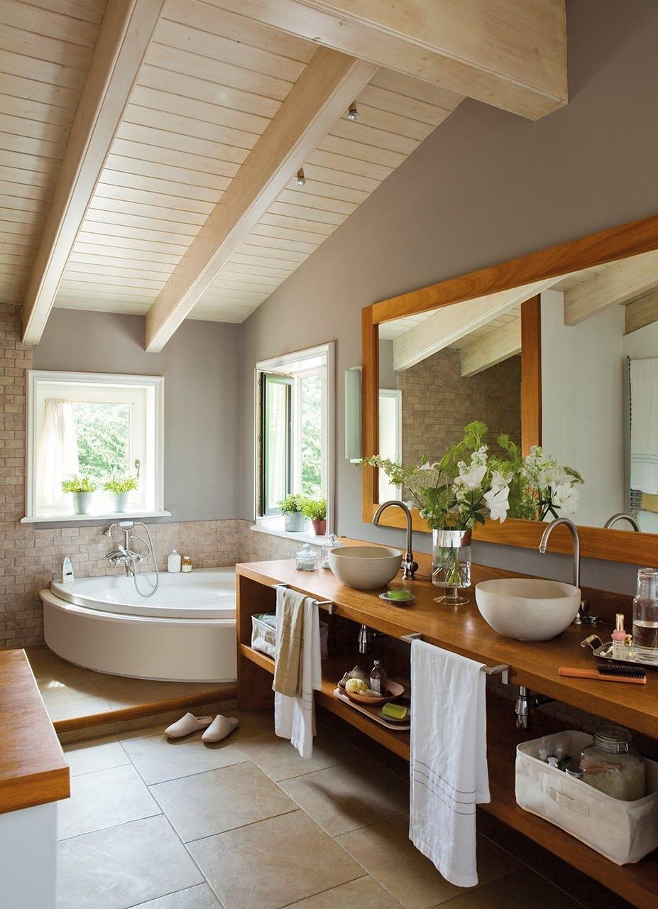 Exposed White Beam Ceiling Plus Cool Corner Bathtub Design And Stylish  Remodel Bathroom Idea Also Wood