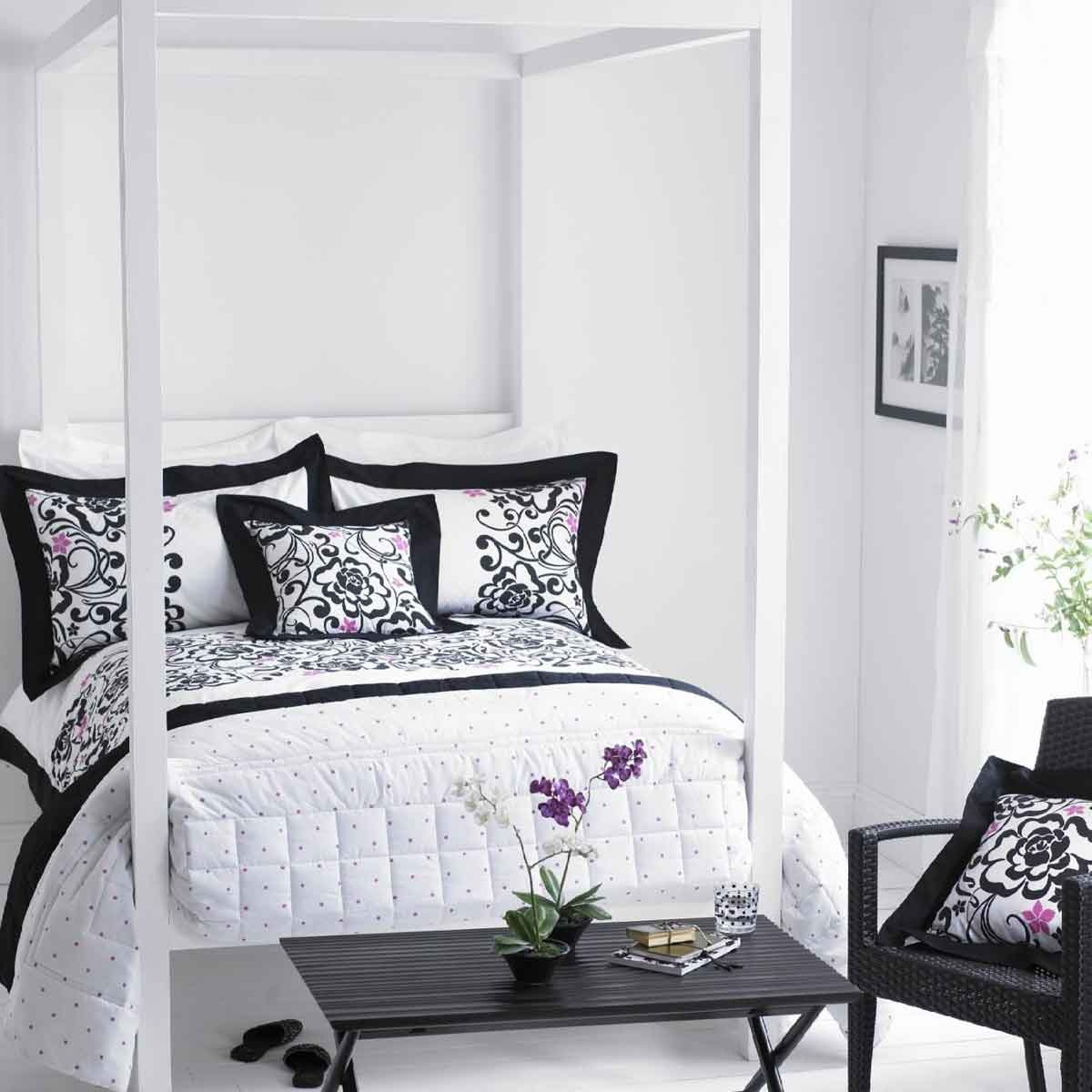fascinating black and white bedroom set with floral accent decor