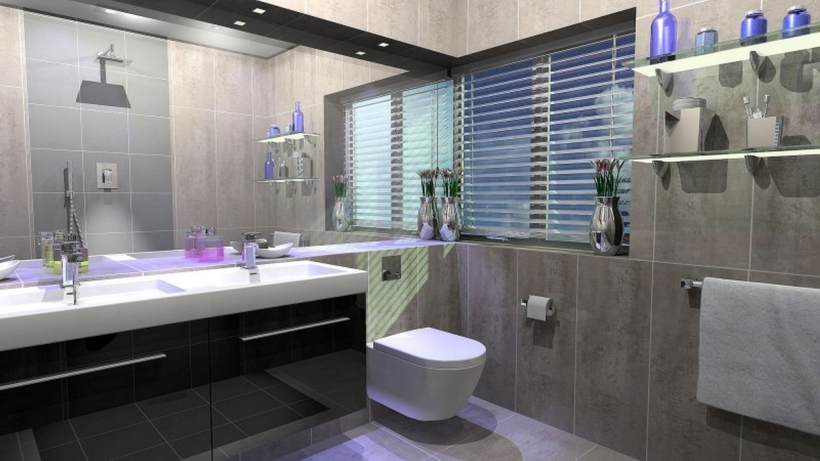 Floating toilet design also ultra modern glass wall shelves for bathroom idea feat black and - Contemporary bathroom designs uk ...
