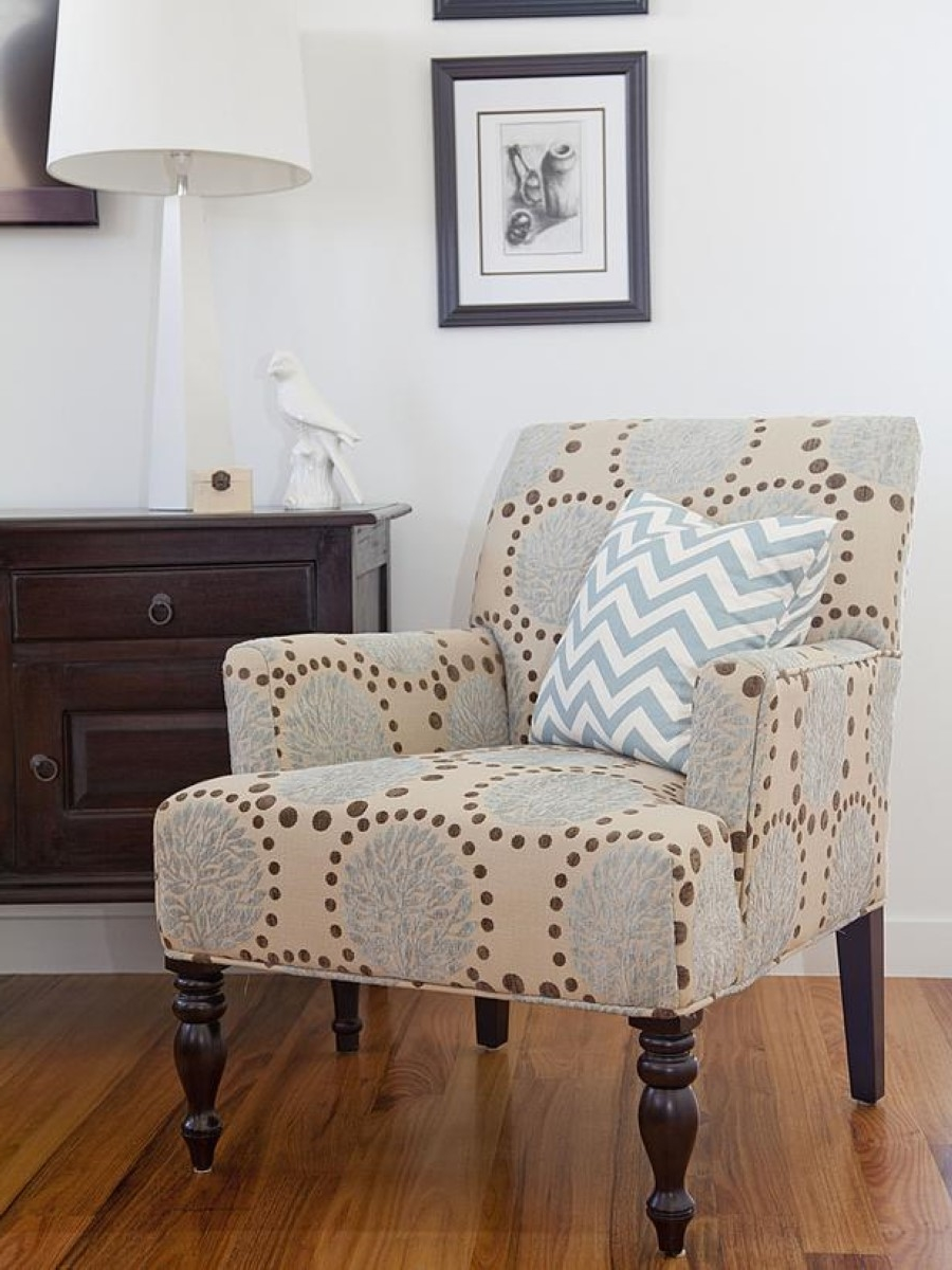 Framed Wall Art Decoration And Stylish Living Room Pattern Chairs ...