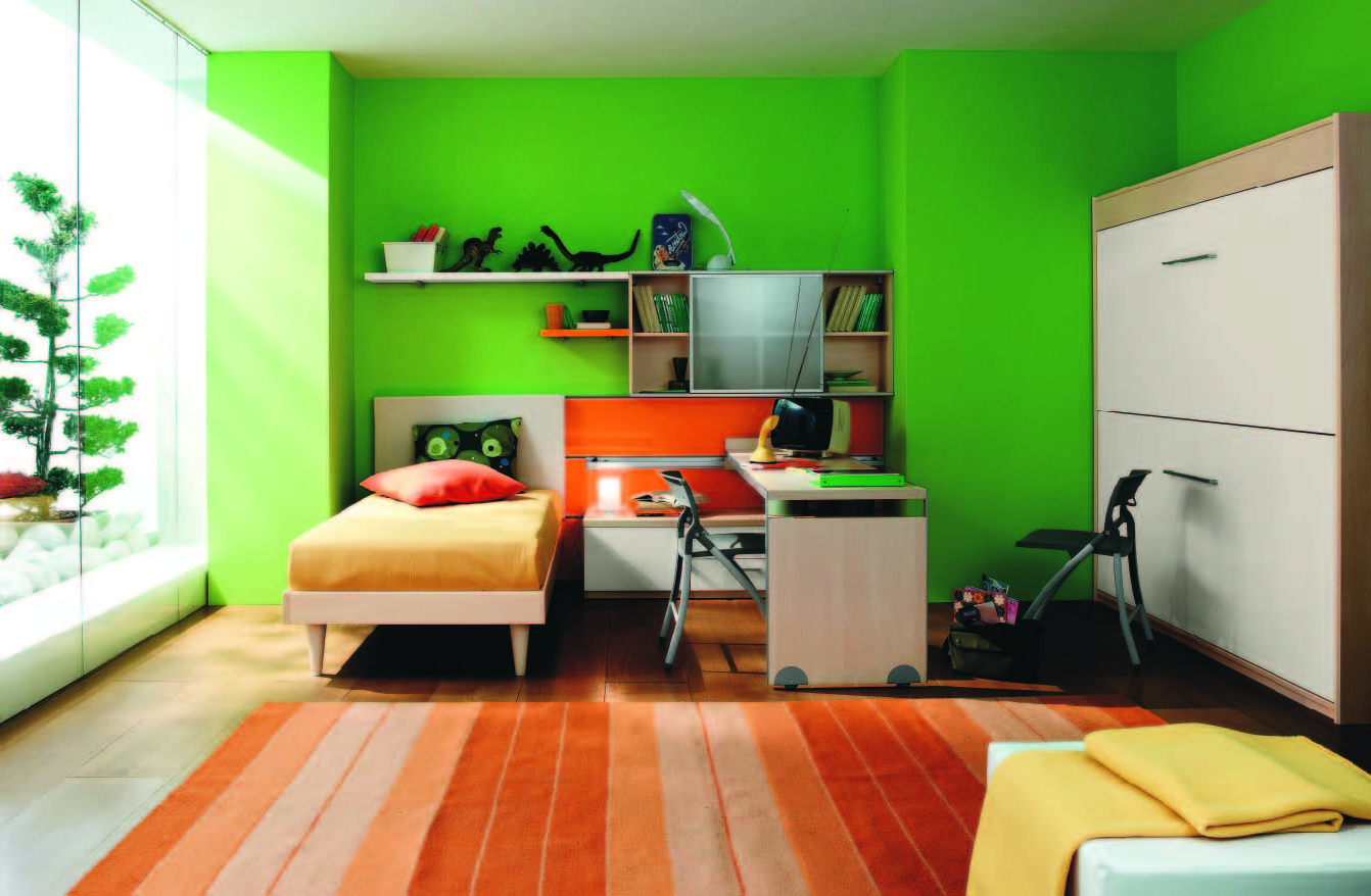 contemporary kids bedroom furniture green. Fresh Green Wall Paint Color Background With Modern White Kids Bedroom Furniture Set Decoration Also Salmon Contemporary