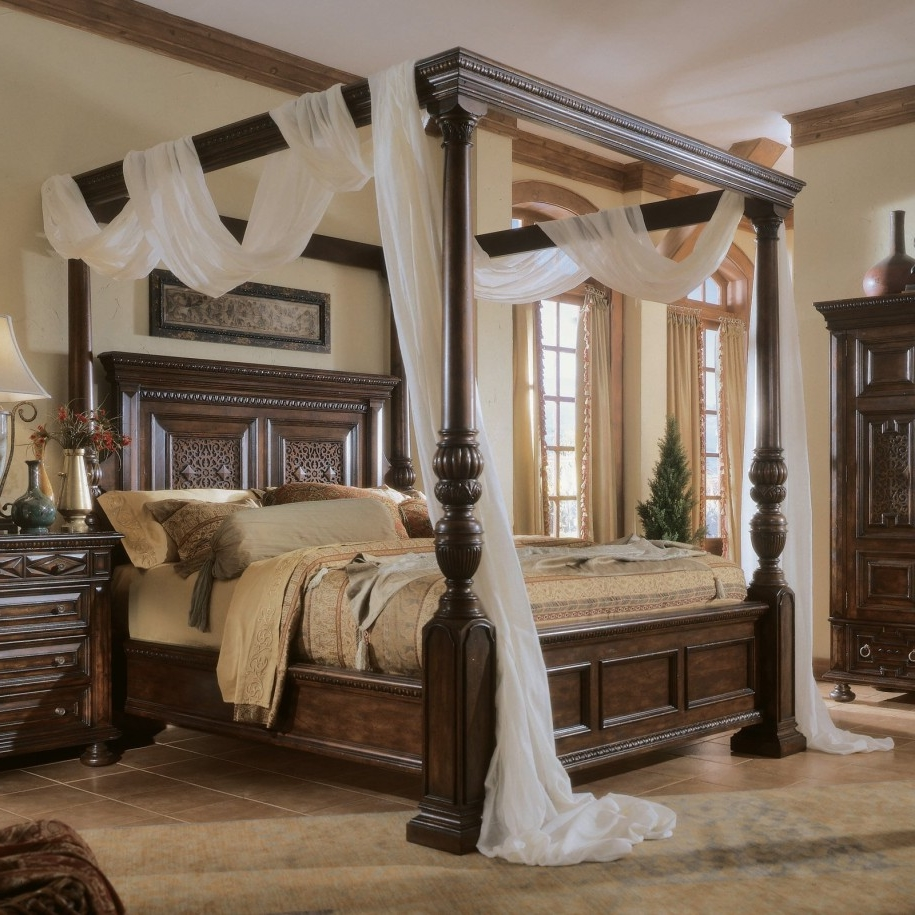 Canopy bedroom sets with curtains - Gorgeous Wooden Bedroom Set With Poster Canopy Bed Also White Scarf Curtain Decorating Idea Plus French