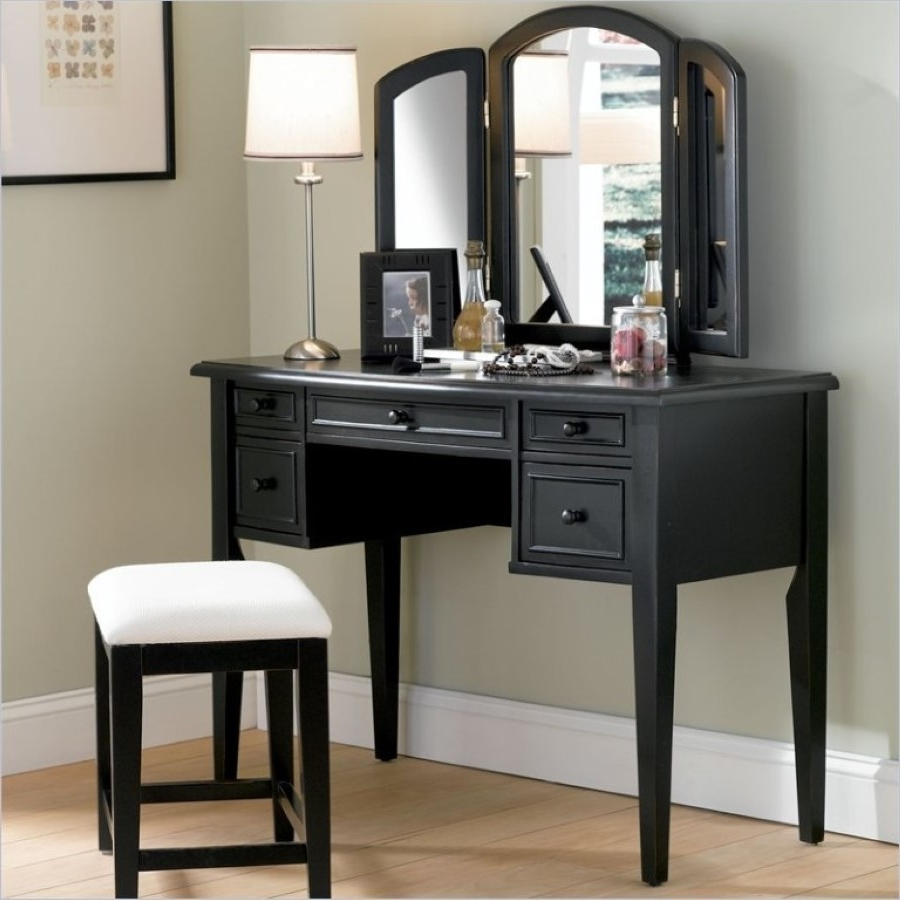 Gothic Antique Black Vanity Table Set With White Bench Pad Also ...