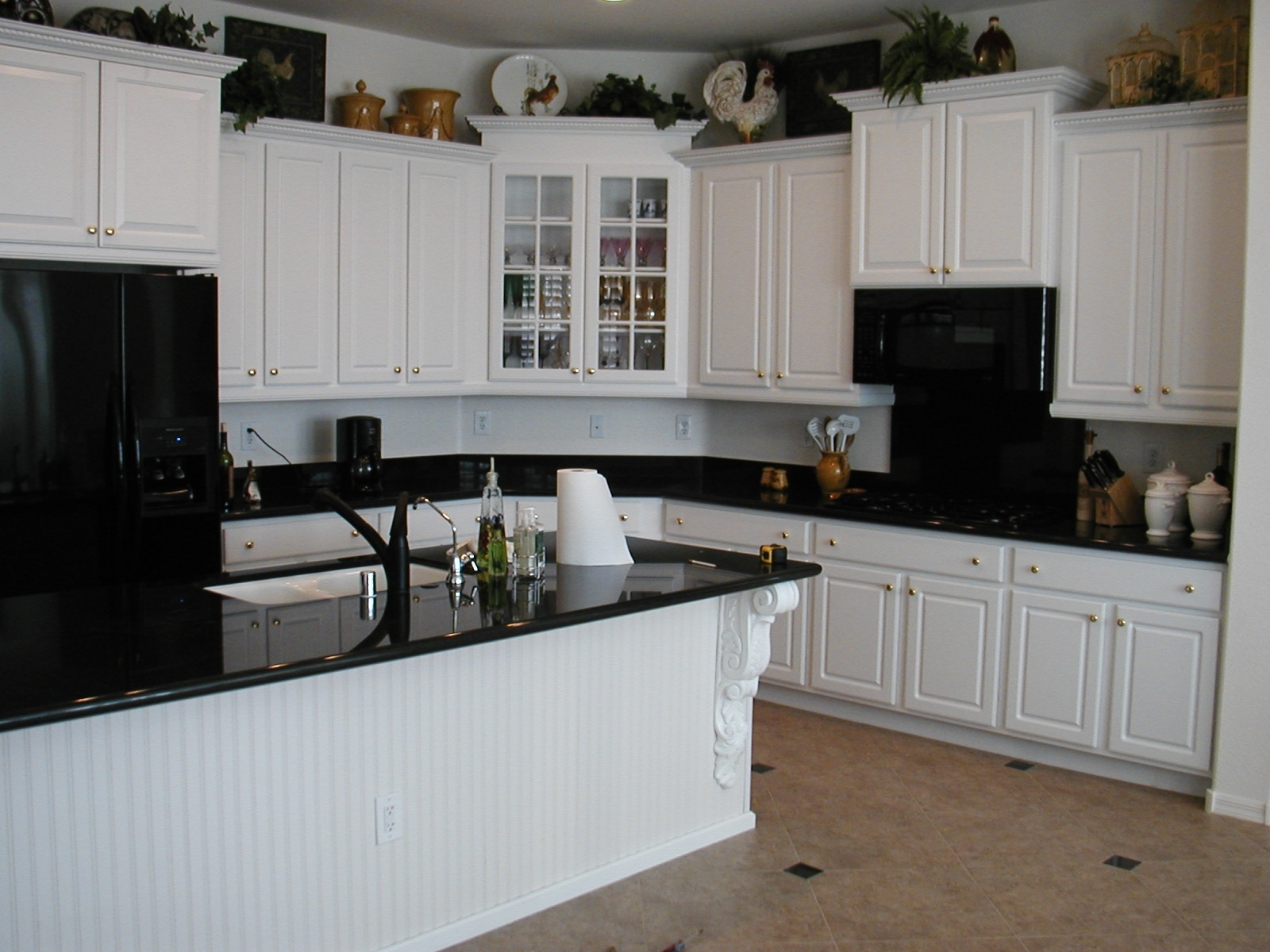Gothic Black Side By Side Refrigerator And Granite Countertops Plus White  Kitchen Set Also Corner Glass