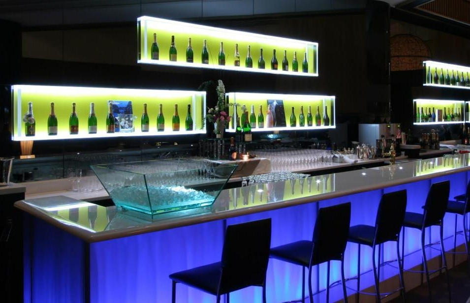 Long Modern Bar Table With White Recessed Storage Lighting Plus Black Chairs Also Blue Led Lighting & Long Modern Bar Table With White Recessed Storage Lighting Plus ... azcodes.com