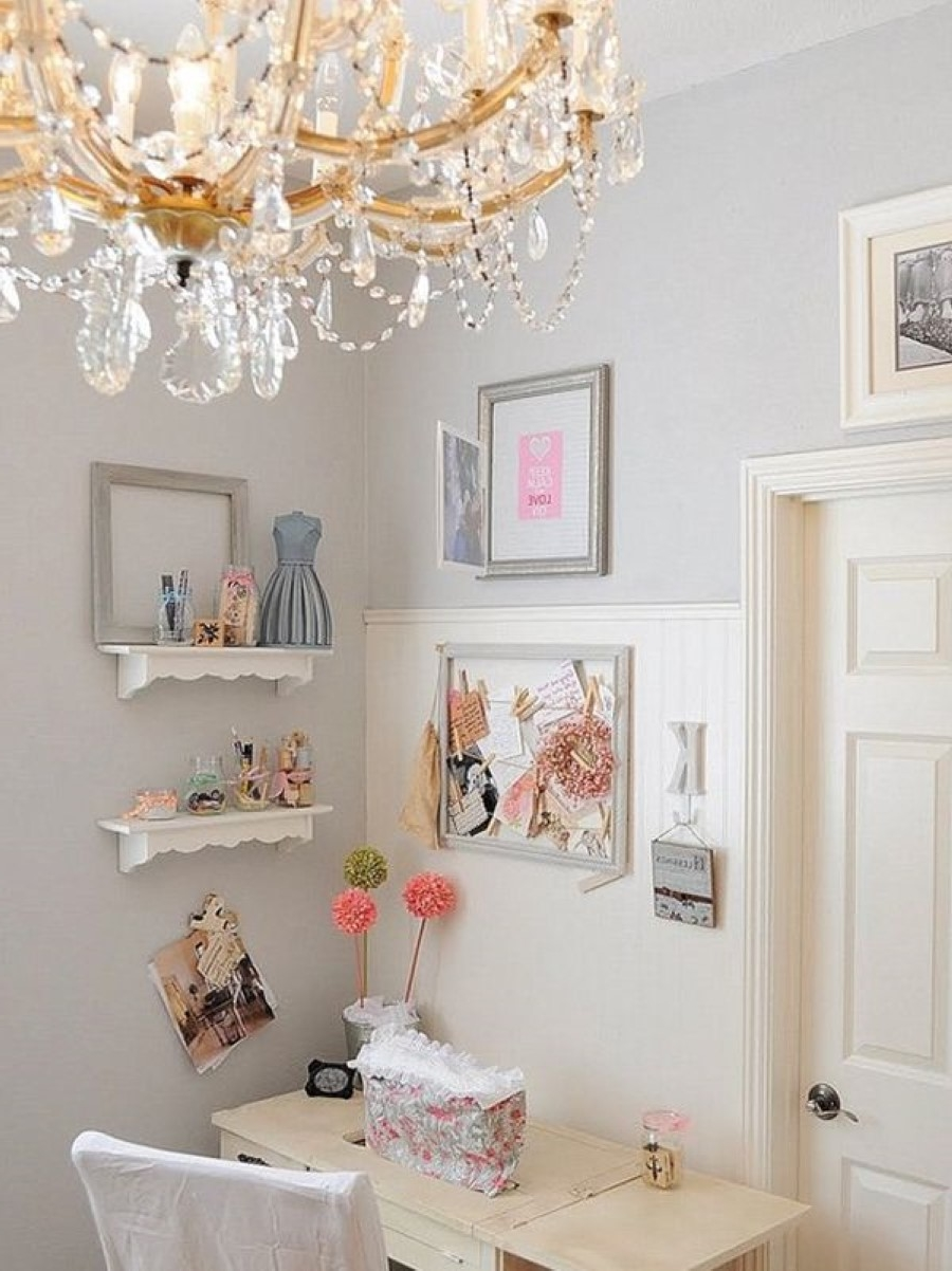Gallery Of Luxury Crystal Chandelier Paired With Feminine Wooden Desk  Beside With Feminine Desk.