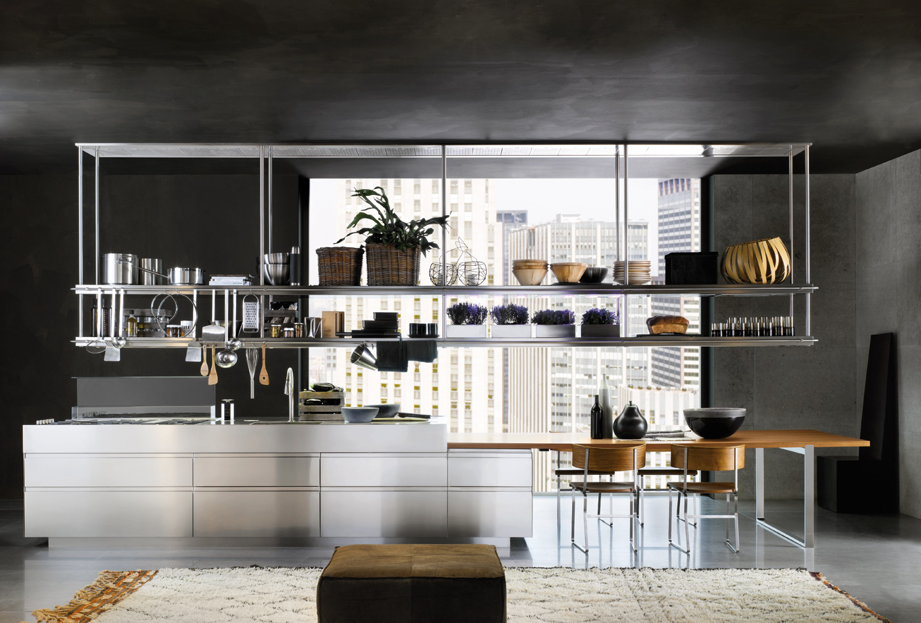 masculine cafe kitchen decor with stainless steel storage idea
