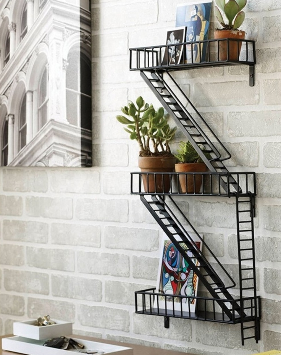 Mesmerizing Exposed Gray Brick Wall And Creative Wall Mounted Shelving With  Metal Zig Zag Stairs Shaped
