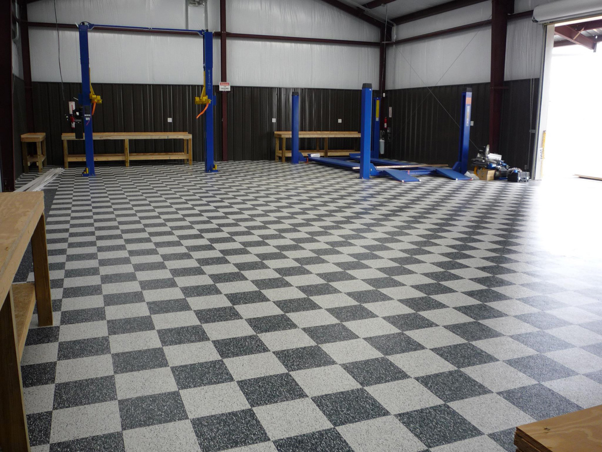 Mesmerizing wooden garage storages with grey checkered for Checkered lino flooring