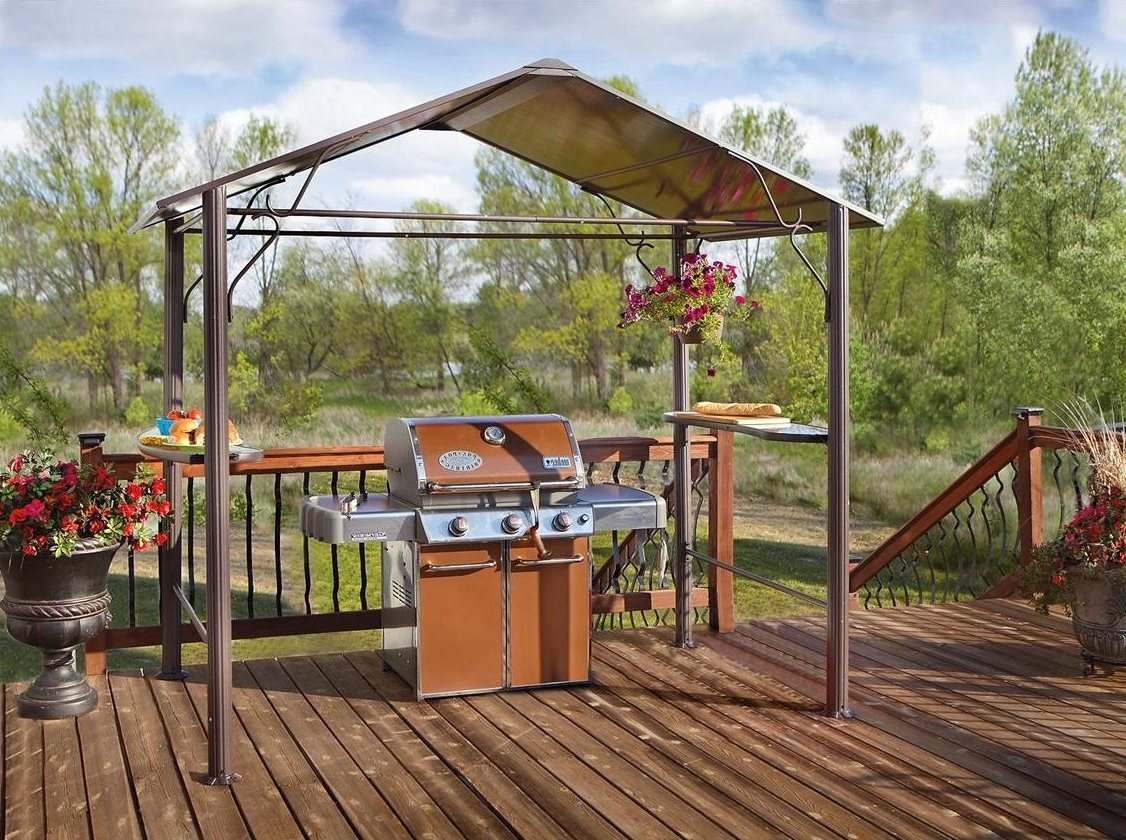 Minimalist Outdoor Kitchen Under Vaulted Gazebo Canopy Integrated With  Floating Table On Shabby Chic Deck (