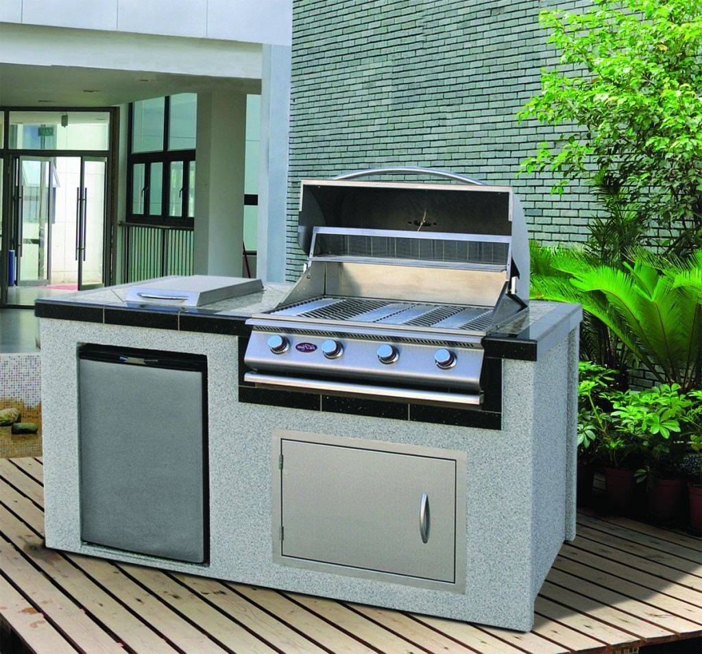 Minimalist Outdoor Kitchen With Compact Refrigerator And Built In ...