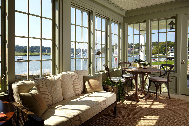 Minimalist White Wooden Sunroom Furniture Layout Near