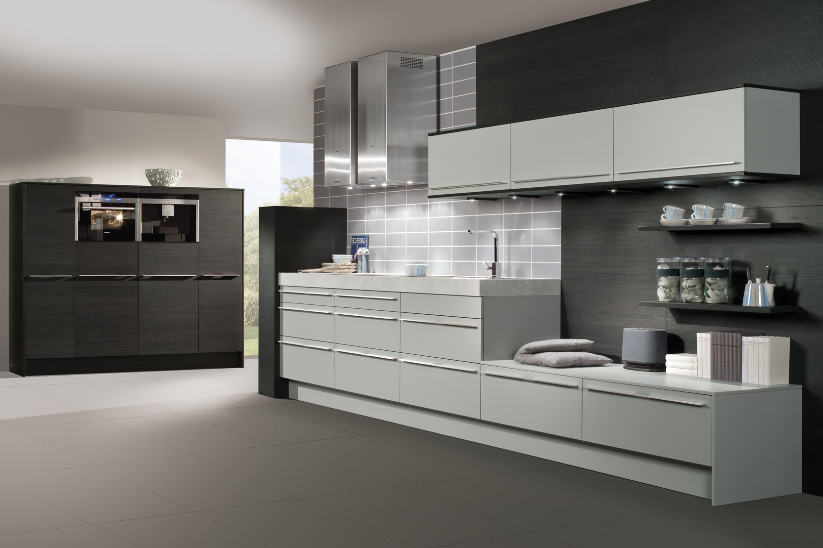Modern best kitchen cabinets with grey and white hues for Black white grey kitchen designs