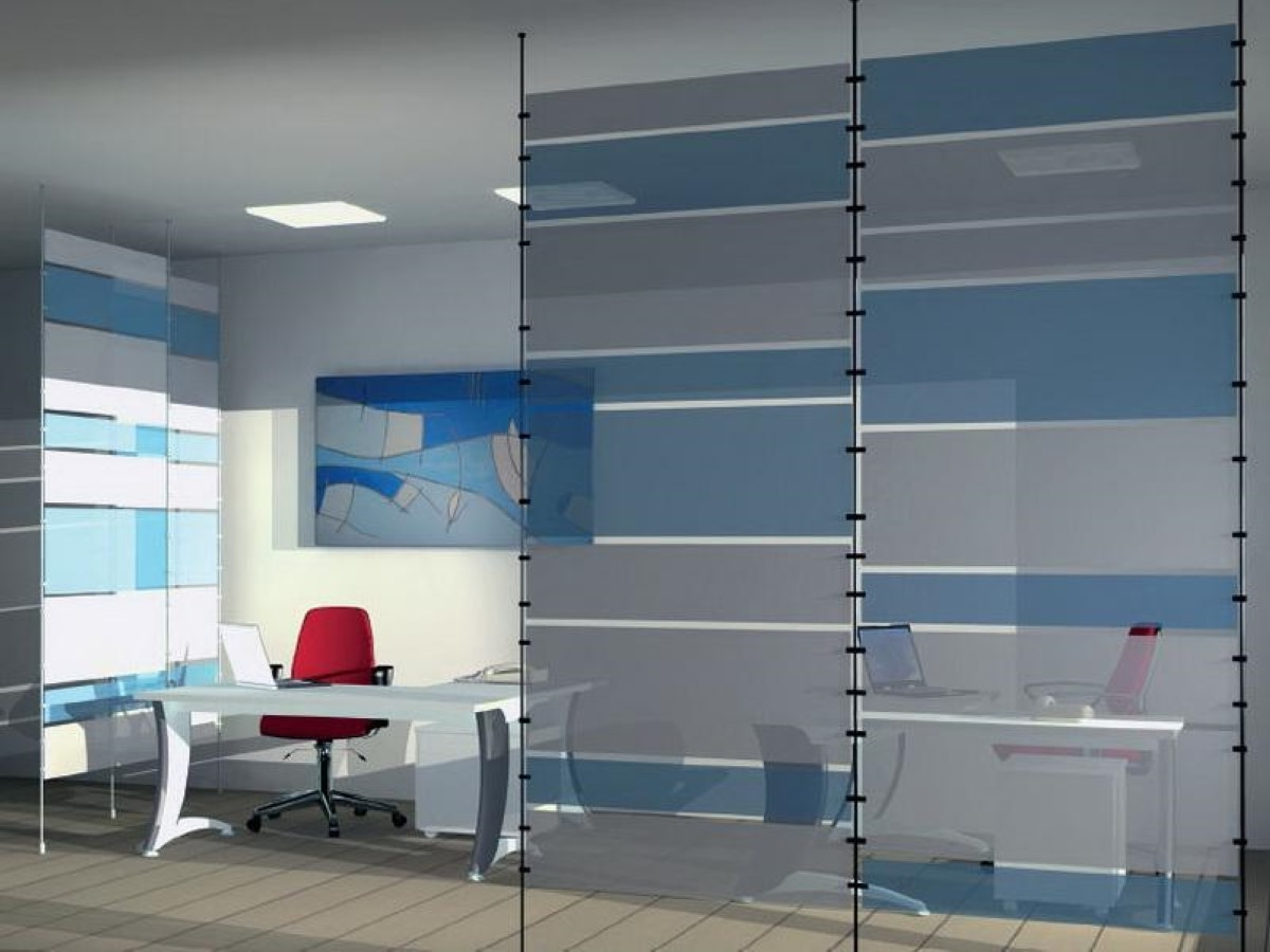 Modern Blue And White Glass Room Divider Decorate Office
