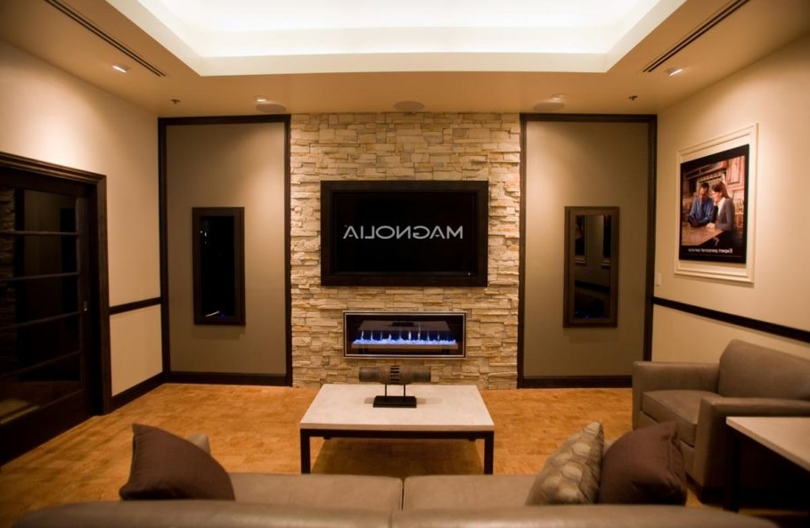 Modern Insert Electric Fireplace Under Tv Wall Paired With