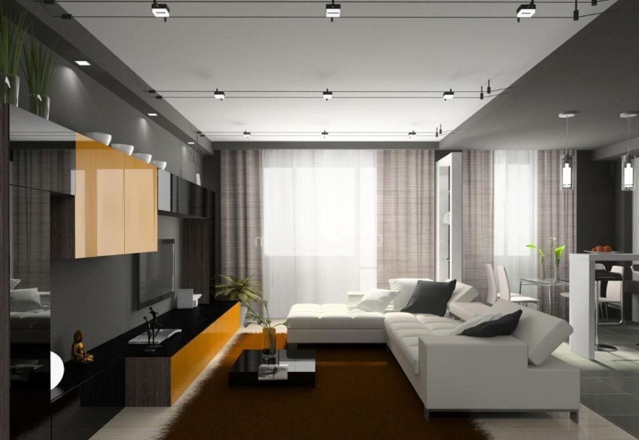 Modern Living Room Track Lighting And Fluffy Area Rug Idea Feat L Shaped White Leather Sofa