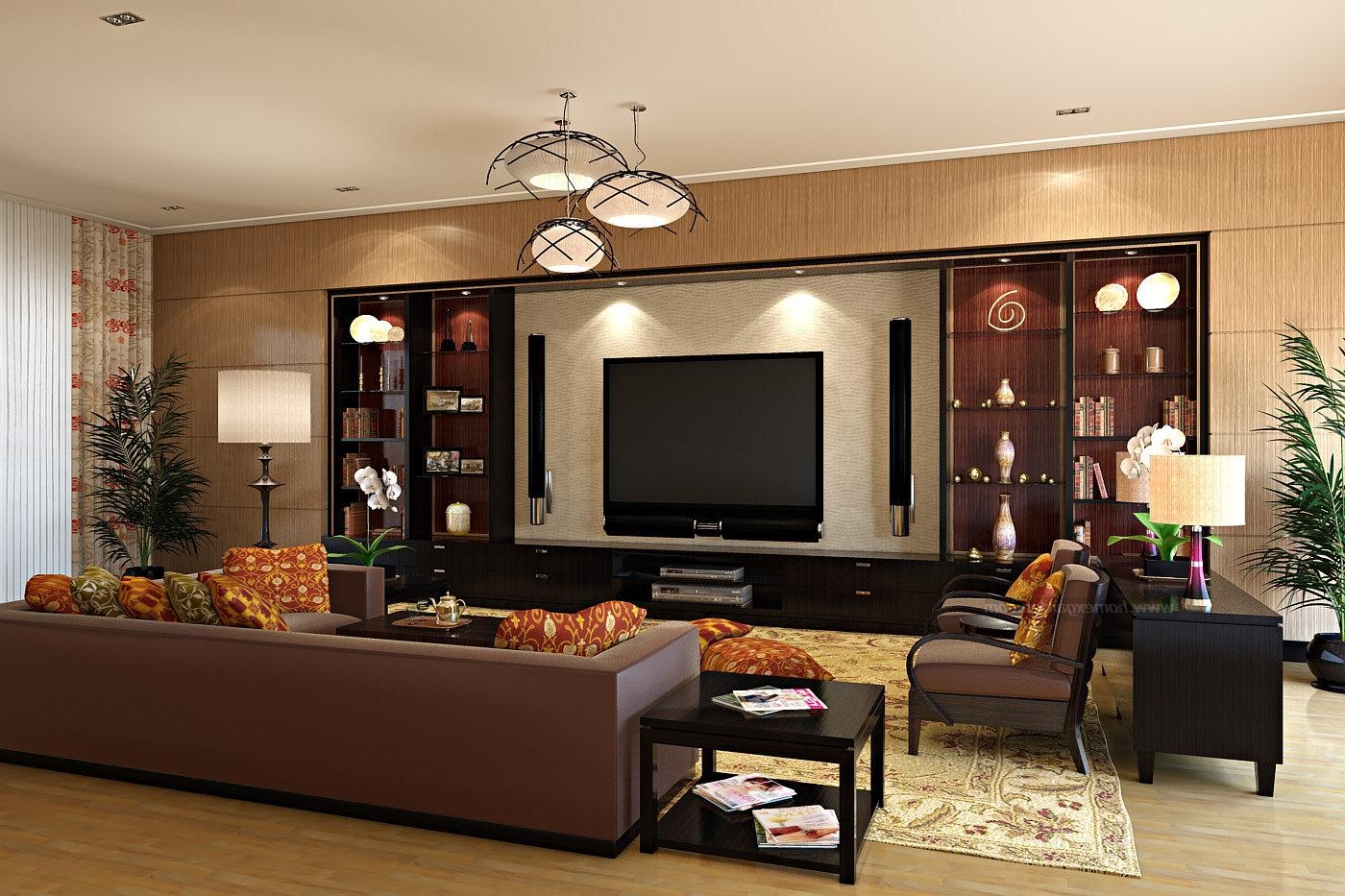 Monochromatic Brown Living Room Interior With Oriental Rug Plus Various  Lamp Shapes Decorating Idea (Photo