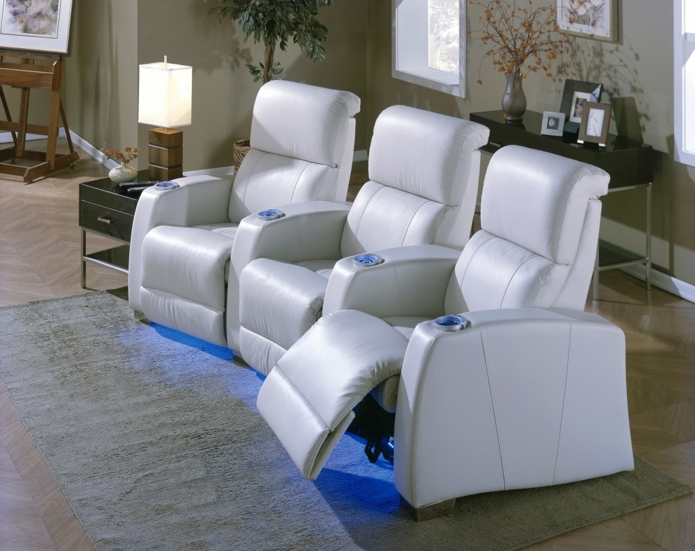 Most Comfortable White Leather Living Room Theater Seating With Adjustable Foot  Rest Plus Blue Led Light
