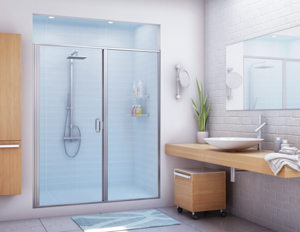 Movable Bathroom Cabinet Idea And Cute Vessel Sink Also Awesome Semi  Frameless Shower Enclosure Design. Movable Bathroom Cabinet Idea And Cute Vessel Sink Also Awesome