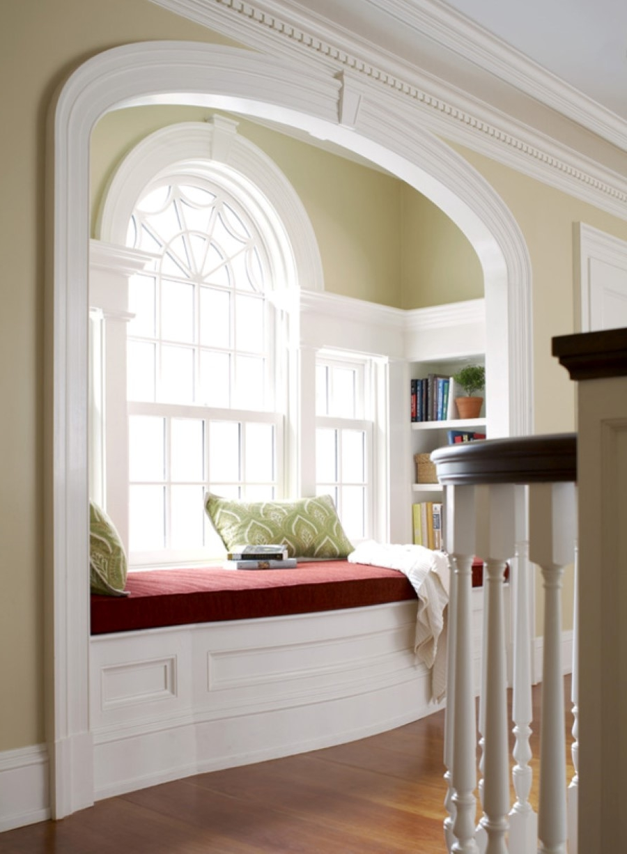 multifunction bay window with red window seat between bookshelves multifunction bay window with red window seat between bookshelves insert plus pale brown wall paint color